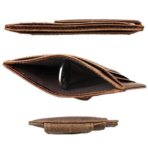 Men's Vintage Magnetic Money Slim Wallet Card Holder