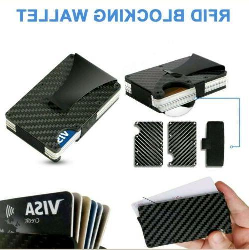 RFID Blocking Clip Carbon Fiber Credit Card Holder Metal Wallet