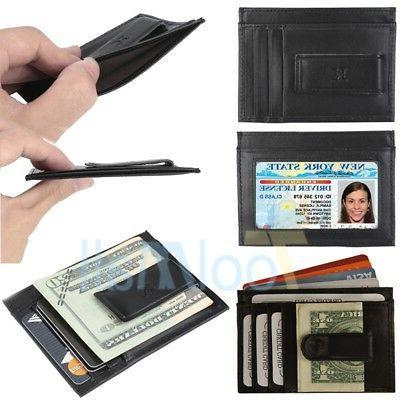 men slim front pocket wallet with money