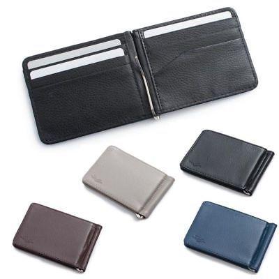 men slim leather bifold id credit card