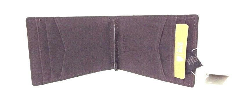 Fossil Front Pocket Bifold RFID Wallet Clip Pewter