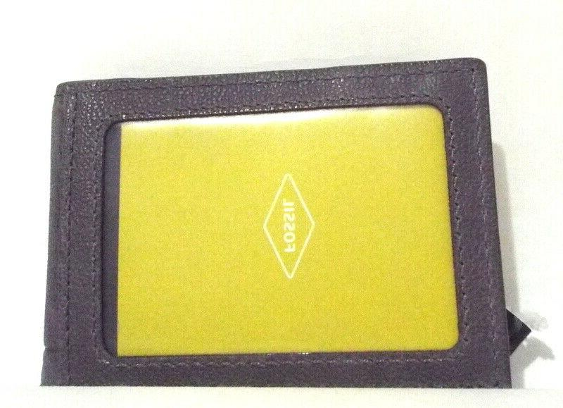 Fossil Pocket Bifold Leather Wallet Money Clip Grey Pewter