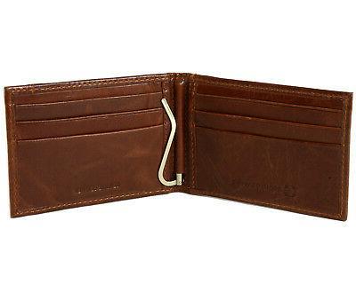Alpine Mens Money Clip Spring Loaded Leather Wallet