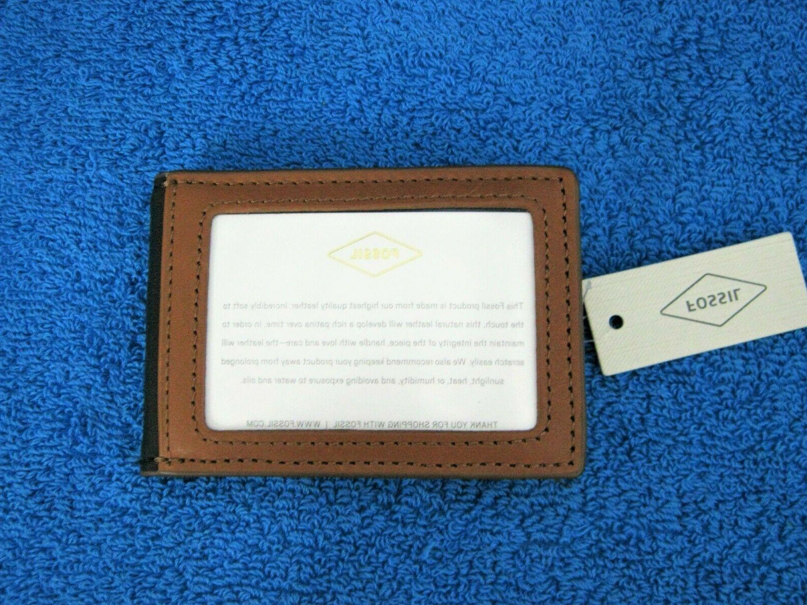 Fossil Mens Leather Bifold Wallet Inside Clip