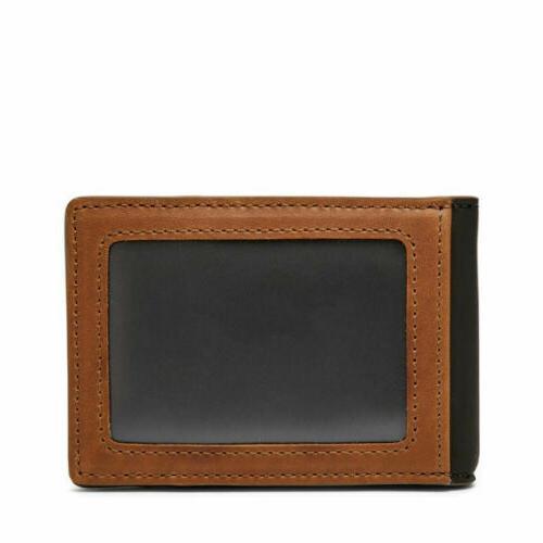 mens black brown leather rfid flip id