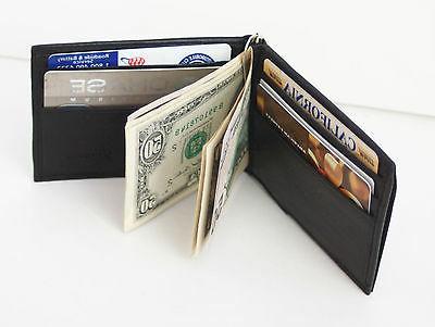 Black Genuine Leather BiFold Spring Money Clip Slim Plain Ca