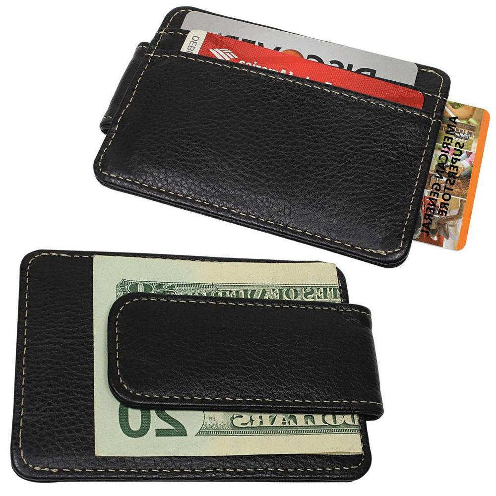 mens black genuine leather magnetic money clip