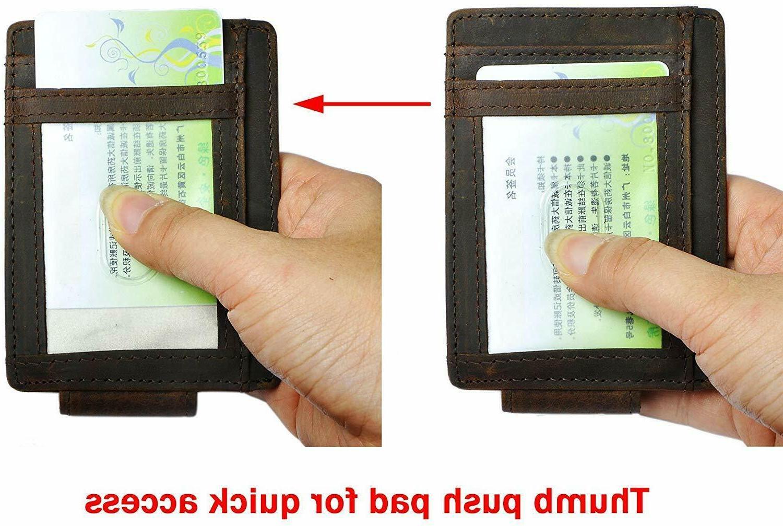 Mens Genuine Slim Wallet Card Clip