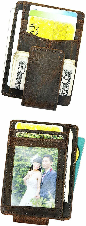 Mens Genuine Leather Slim Card Case