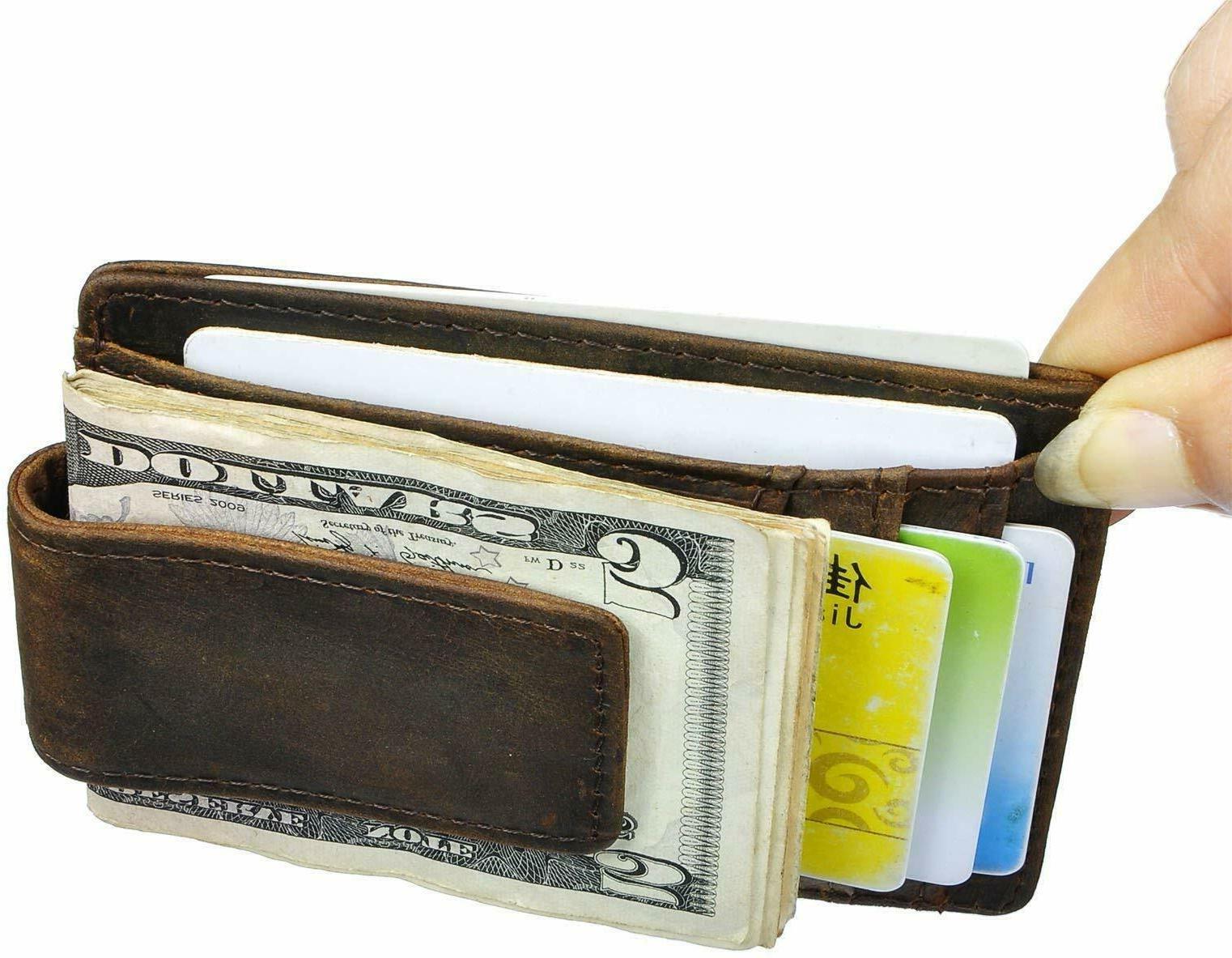 Mens Leather Slim Card Money Clip