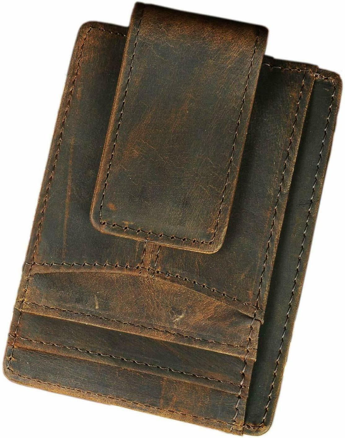 mens genuine leather minimalist slim wallet front
