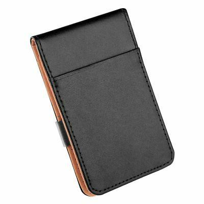 Mens Leather Money Black ID Holder