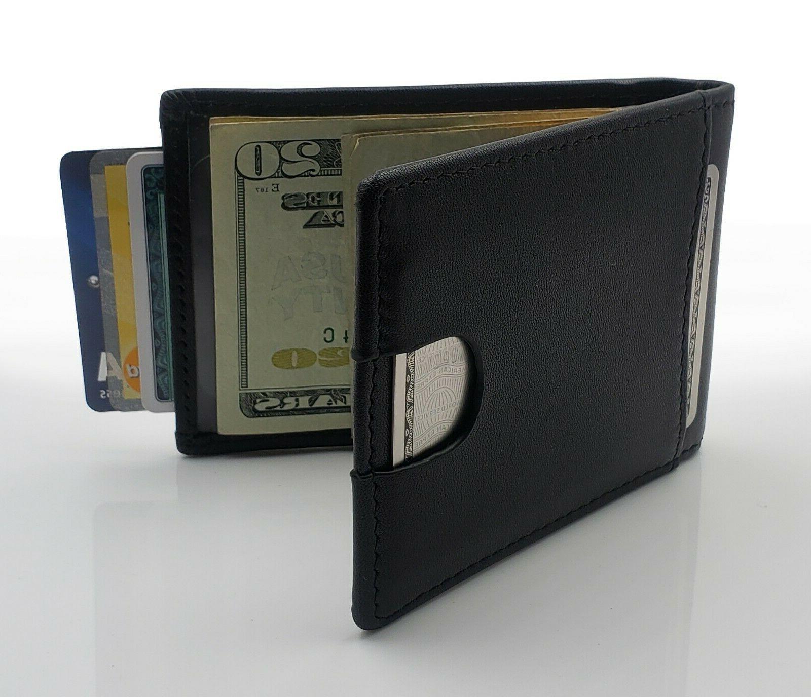 mens leather bifold wallet rfid slim design