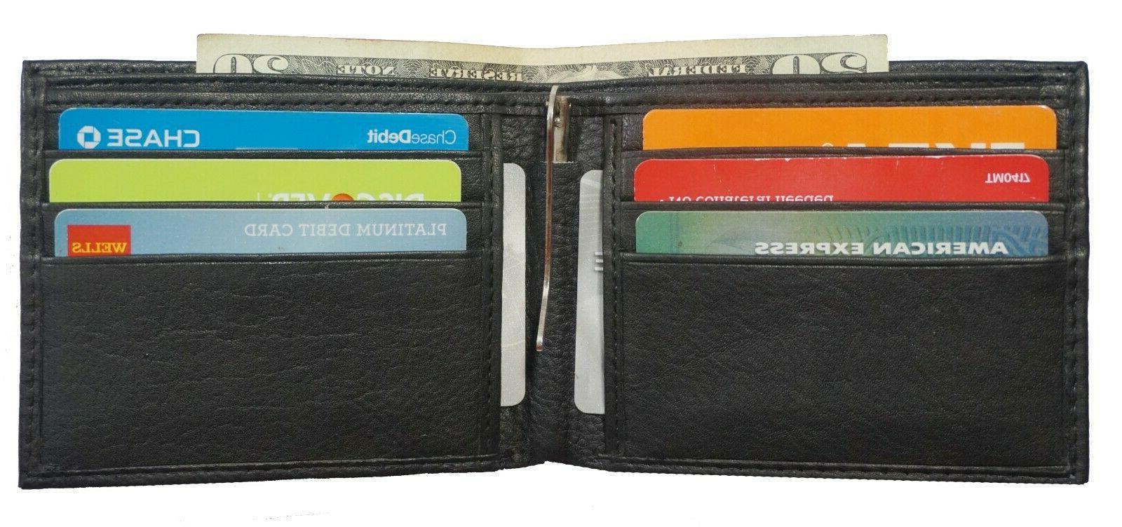 Mens Leather Metal Spring Money Clip Front Pocket Credit Holder