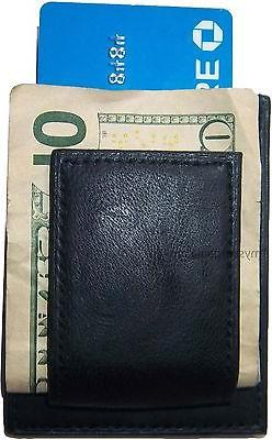 mens leather money clip credit card id