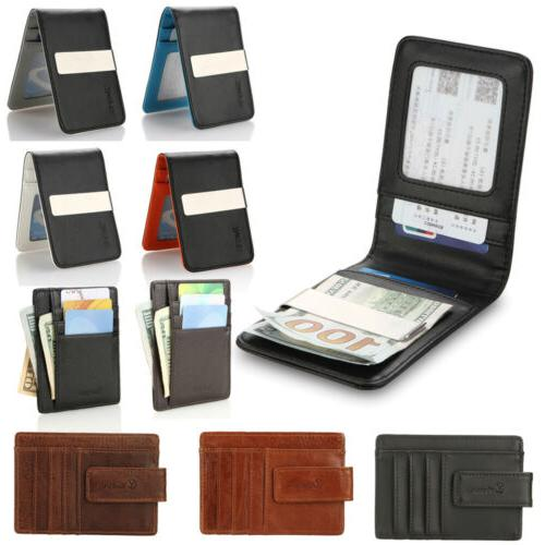 YOOMALL Mens Leather Money Clip Magnet Front Pocket Wallet S