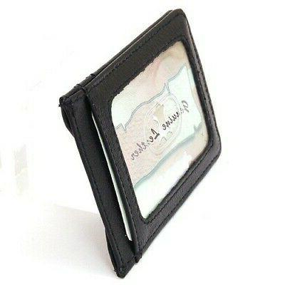 Mens Slim Front Wallet Magnetic Credit Card Holder