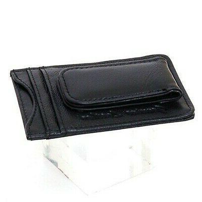 Mens Leather Slim Front Pocket Magnetic ID Holder
