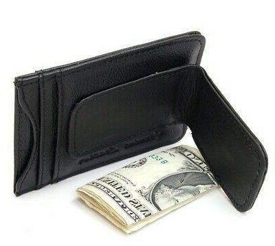 Mens Leather Slim Wallet Magnetic Holder