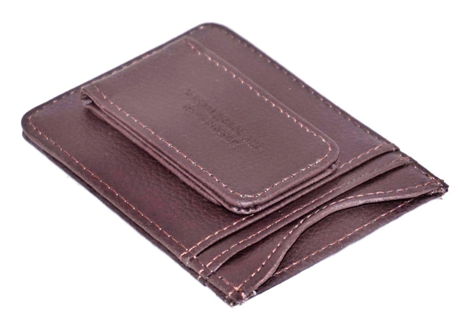 Mens Leather Money Slim Pocket Magnetic Credit Holder