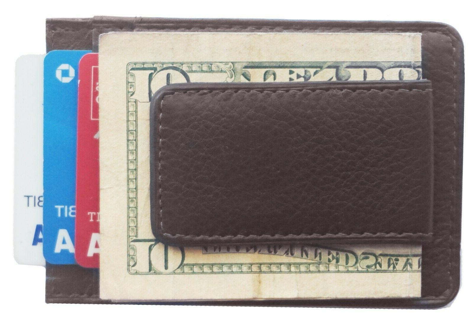 mens leather money clip slim front pocket