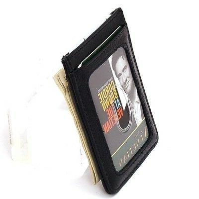 Mens Slim Front Wallet Magnetic Holder