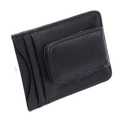 Mens Leather Clip Magnetic Card Holder