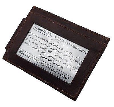 Mens Leather Clip Slim ID Card Brown
