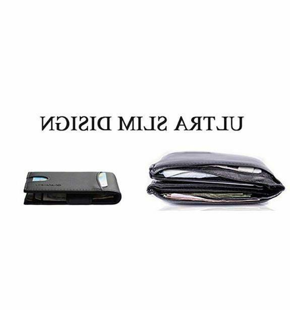 Mens Leather Pocket Wallet Card RFID