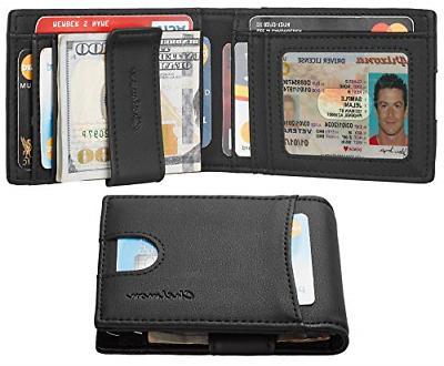 mens leather slim front pocket bifold wallet