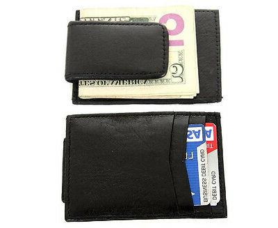 Mens Leather Slim Magnetic Money Clip 3 Credit Card Slots ID