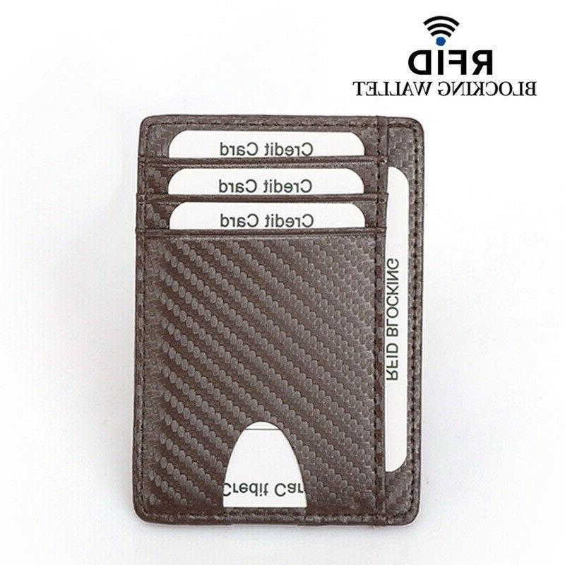 Mens Leather Slim RFID Blocking ID Credit Wallet