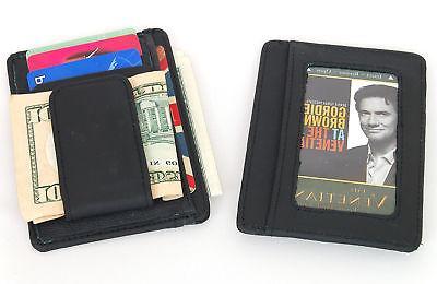 Mens Leather Wallet Clip Credit Holder Slim NEW