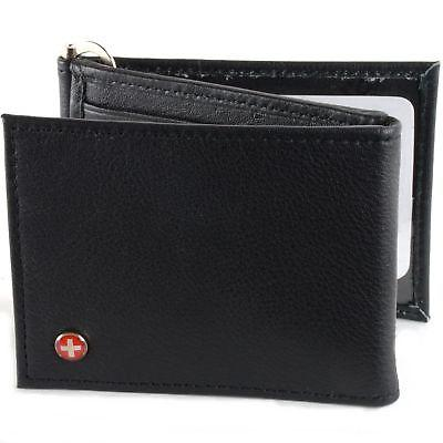 Mens Leather Money Shape Trifold Slots IDs