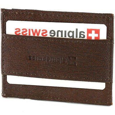 Alpine Swiss Mens Front Wallet Case Cash Clip