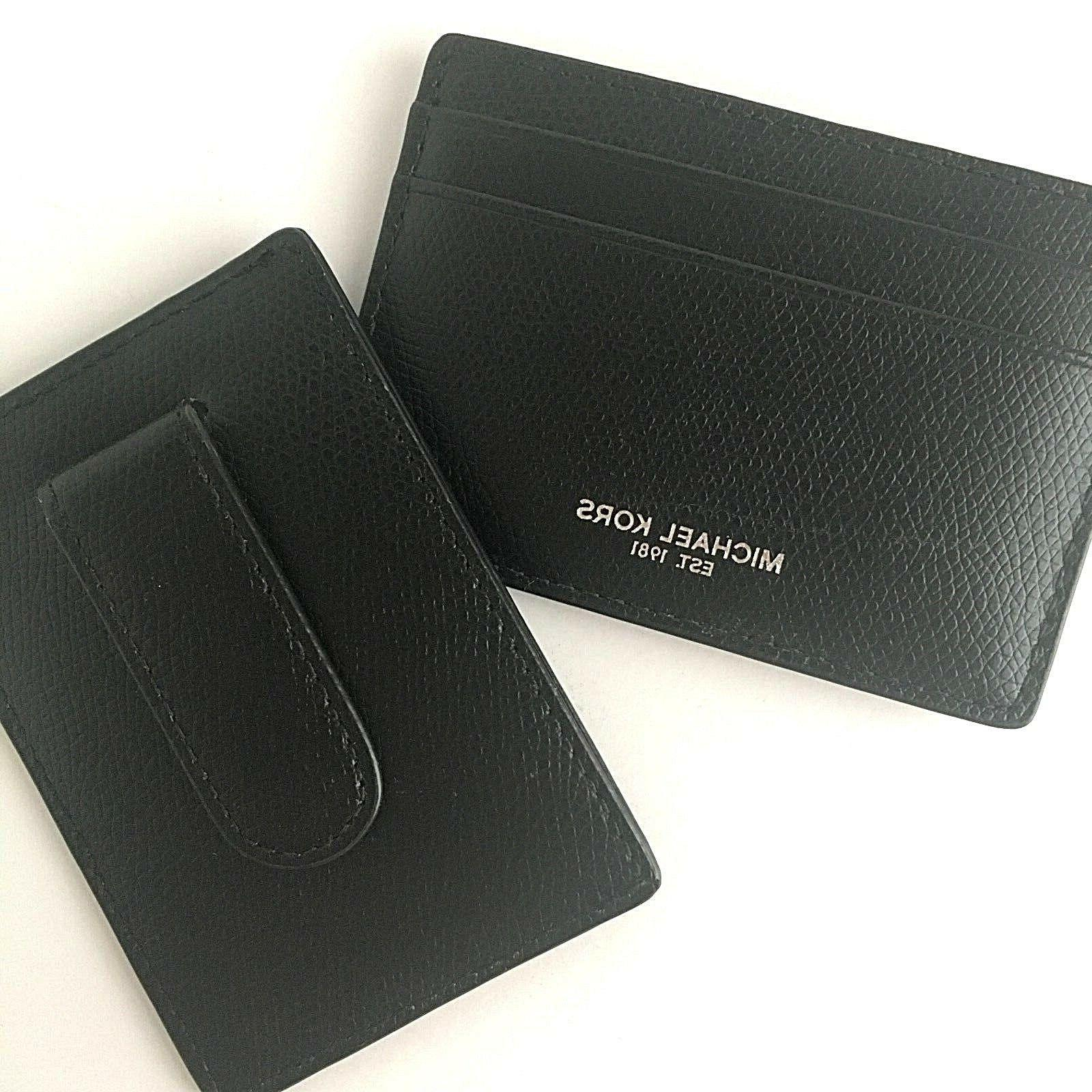Michael Kors Mens Money Clip Card Case Warren Black