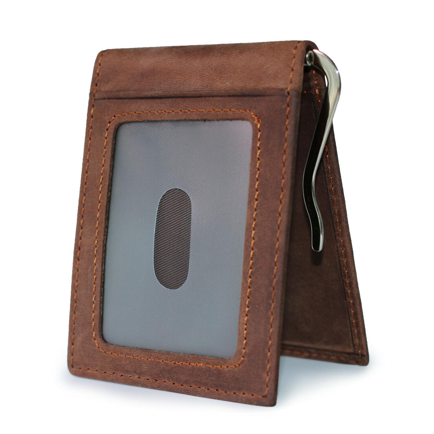 Mens Leather Clip Wallet Bifold Front Pocket Credit Holder