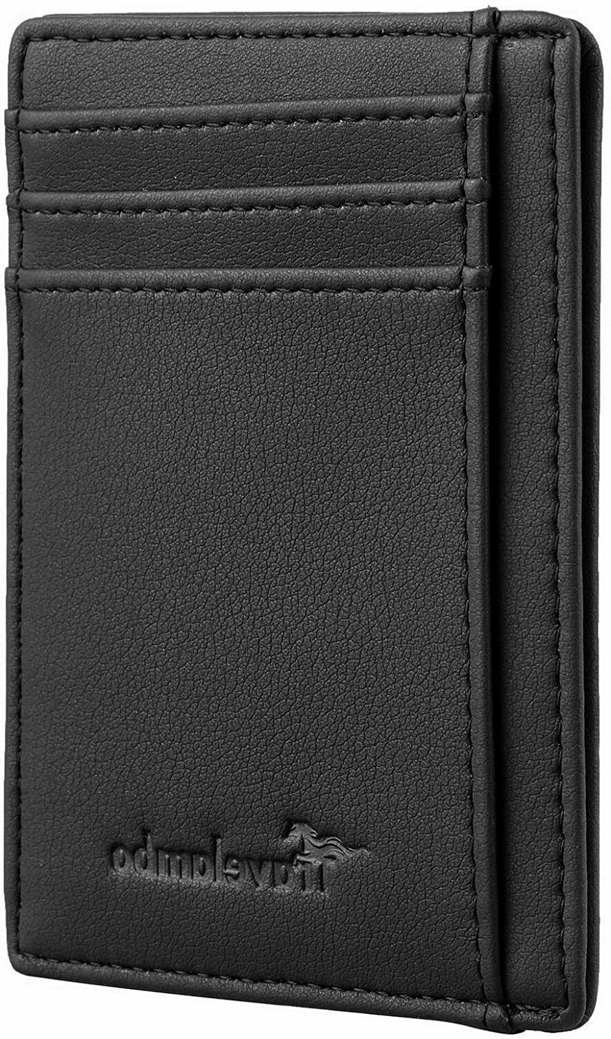 Mens RFID Leather Money Clip Credit Card Coin Holder