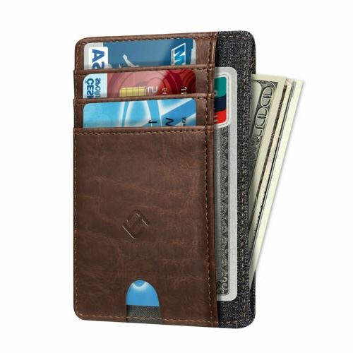 Mens RFID Slim Wallet Credit Card Slots