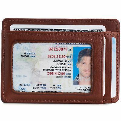 Alpine Swiss Money Clip Wallet Card Case Window