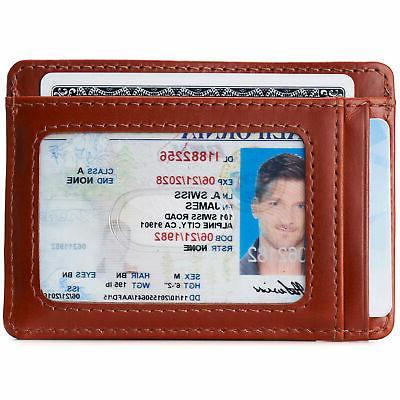 Alpine Mens RFID Money Leather Minimalist Wallet Window