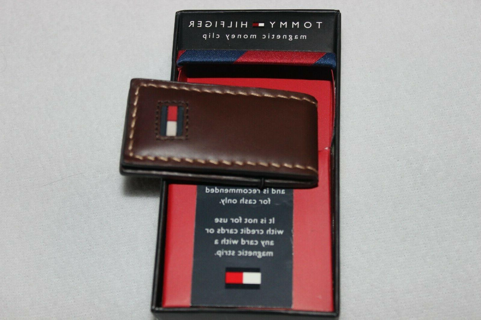 mens signature logo leather brown magnetic money