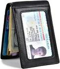 mens slim bifold leather front pocket rfid