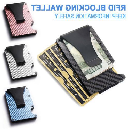 Mens Carbon Credit Card Blocking Metal Clip