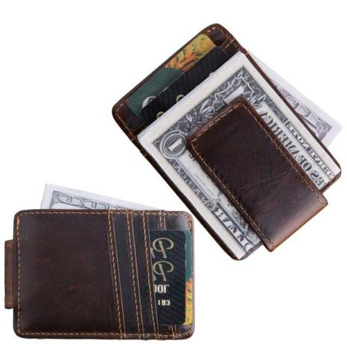 Mcdull Mens Slim Genuine Leather Credit Card Case