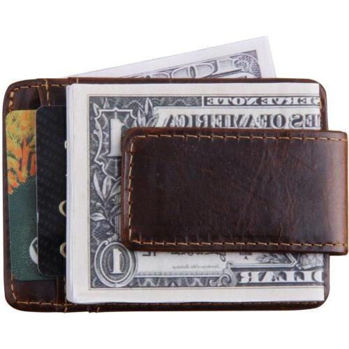 mens slim genuine leather magnet money clip