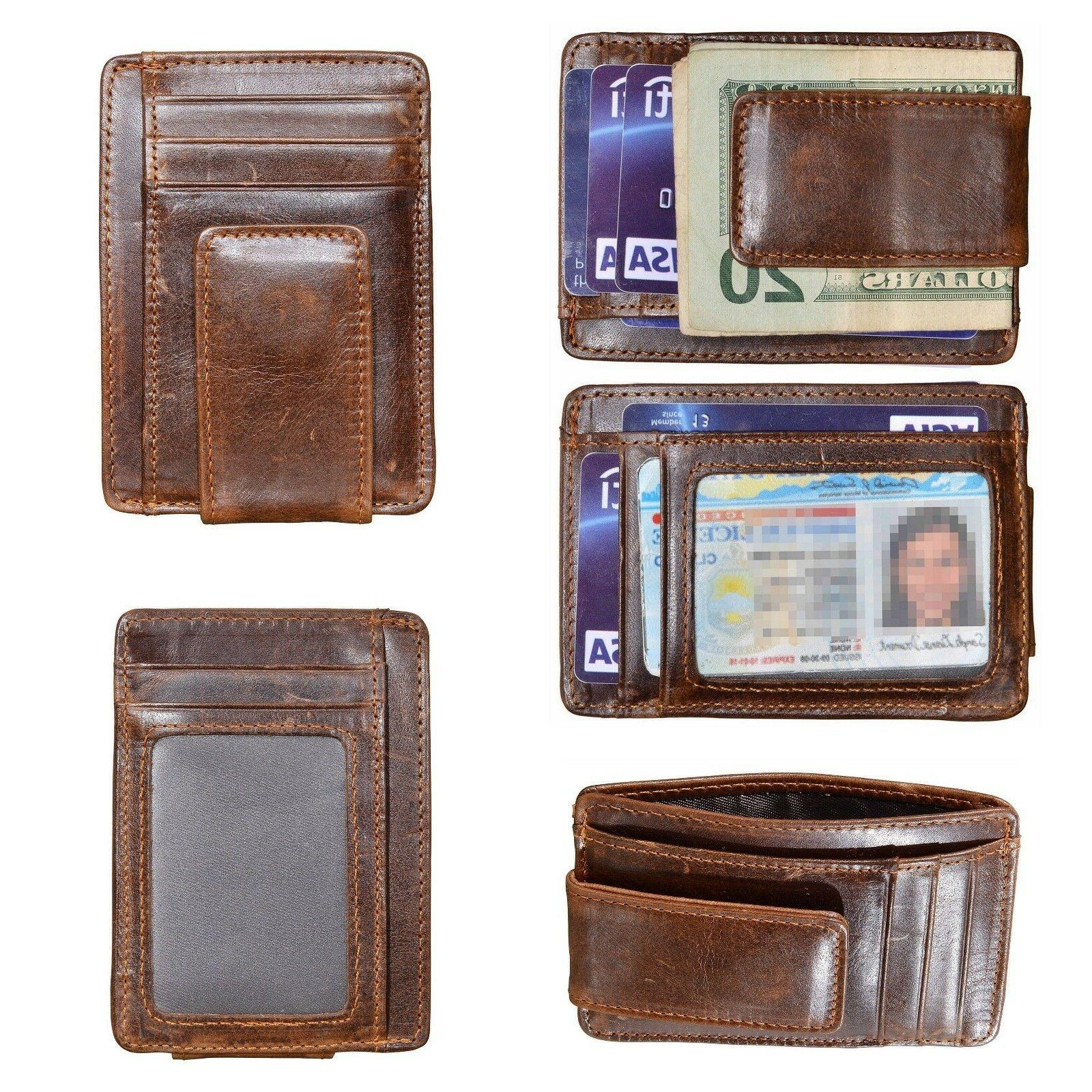 Mens Slim Wallet Genuine Leather Money Clip Front Pocket ID