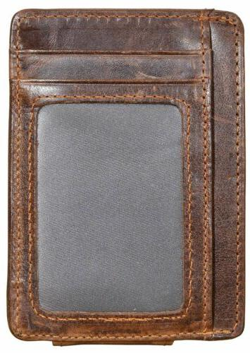 Mens Slim Wallet Leather Money Pocket Blocking