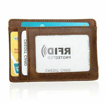 Mens Slim Genuine Leather Clip Pocket ID Card Blocking