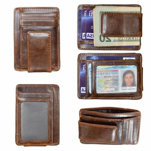 mens slim wallet genuine leather money clip